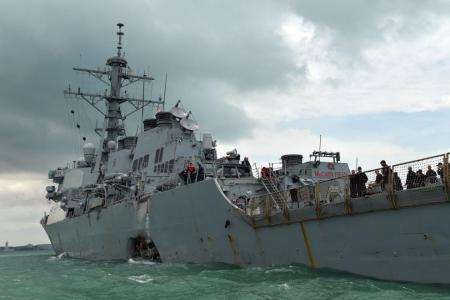 Remains of United States sailors found on warship that collided off Singapore