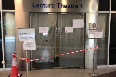 Ceiling collapses in NTU lecture theatre