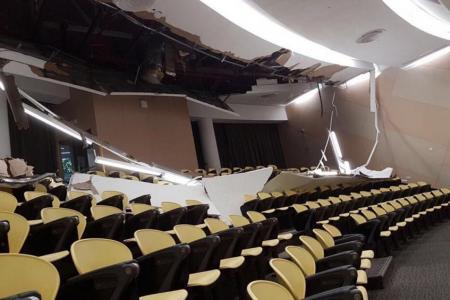 Part of NTU lecture theatre's false ceiling collapses