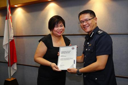 Bank employee praised by police