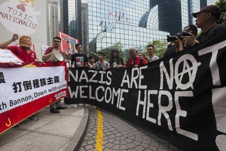 HK activists protest Bannon's visit