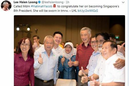 PM congratulates Halimah, thanks other two applicants