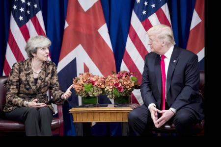 British PM May defends multilateralism