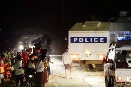 Myanmar protesters throw petrol bombs at Red Cross