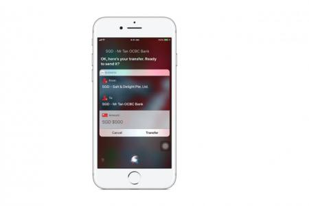OCBC's business customers will be able to transfer funds by talking to Siri