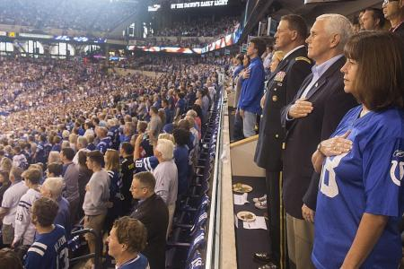 Pence walks out on NFL game as protests press on