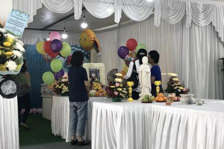 Toys, balloons mark her farewell