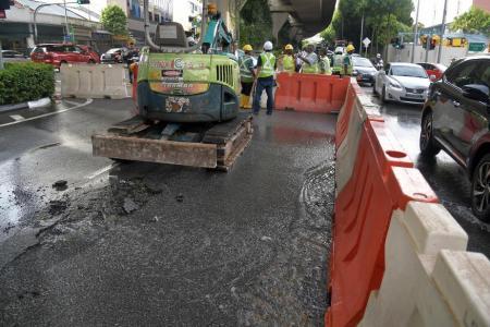 Burst pipe in Upper Serangoon disrupts traffic