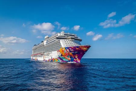 Sister ship World Dream arrives here