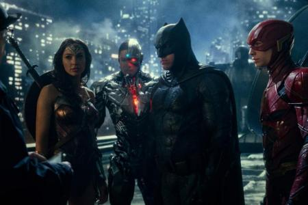 Wonder Woman, Cyborg, Batman, and The Flash in Justice League