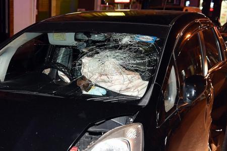 Driver evading road block crashes into four vehicles at Geylang