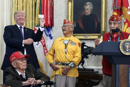 Trump uses 'Pocahontas' as alleged slur