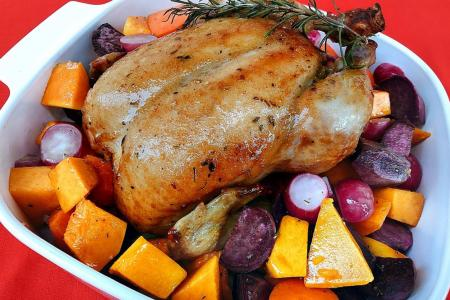 Festive roast chicken and vegetable medley