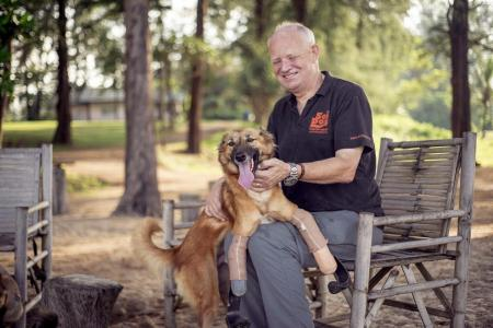 Dog runs again with Paralympic sprinter-like prosthetics