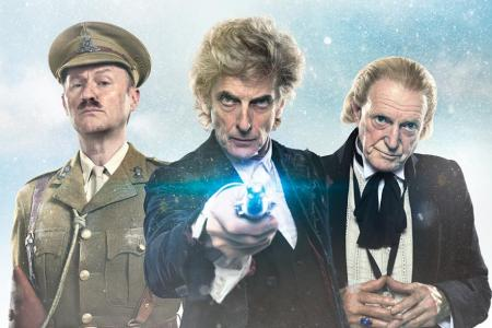 Mark Gatiss as The Captain, Peter Capaldi as The Doctor and David Bradley as The Doctor in Twice Upon A Time