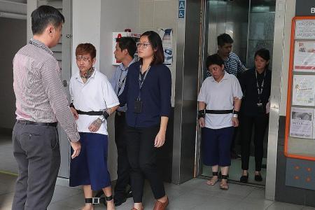 Two women accused of loanshark harassment taken to crime scene