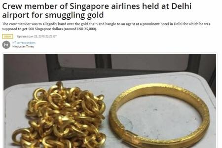 Singapore Airlines cabin crew arrested in New Delhi airport for smuggling gold
