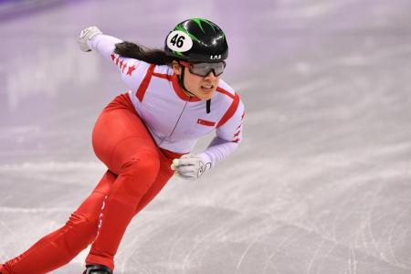 Short-track speed skater Cheyenne finishes fifth in her heat
