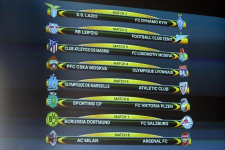 Arsenal drawn with Milan in Europa League last 16
