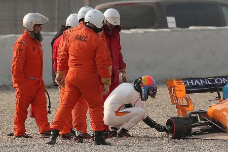 Alonso upbeat despite crash during pre-season testing