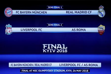 Reds to meet Roma, Bayern get Real in Champions League semis