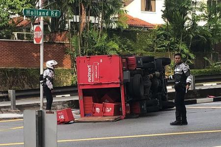 RedMart lorry driver hurt in Holland Road accident