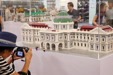 Singapore monuments built using Lego bricks go on display