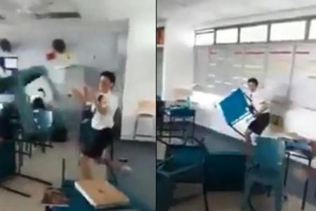 Students disciplined after throwing furniture in online video