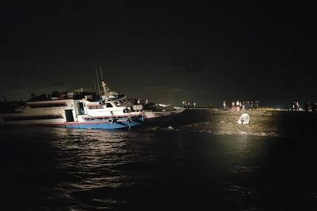 Indonesian ferry runs aground at Pulau Tekong