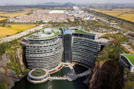 Not quite the pits: China opens luxury hotel in quarry