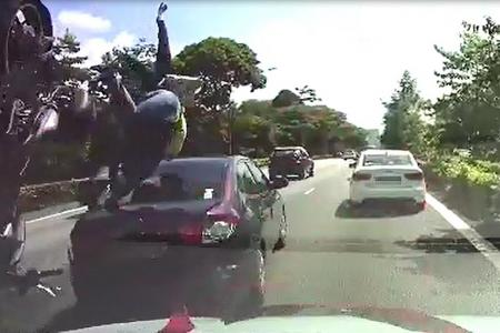 Couple on motorcycle flung into air during crash on AYE