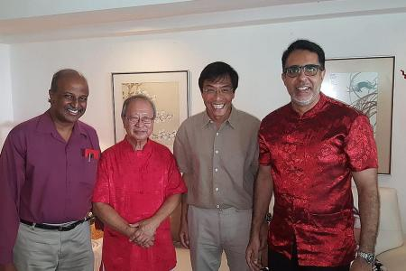 Opposition party leaders gather at Tan Cheng Bock's home during CNY