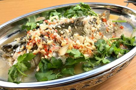 Thai-style steamed sea bass with lime and chilli dressing