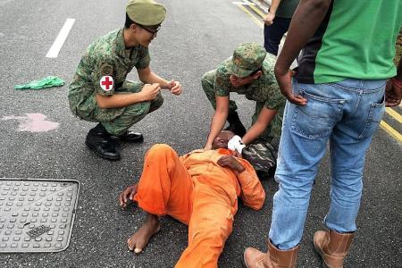 SAF medics stabilised man's spine in Mandai accident