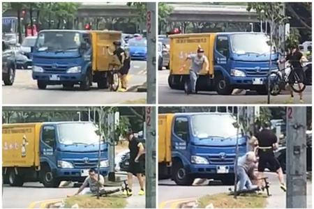 Cyclist punches lorry driver and rides off after alleged collision in Eunos