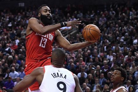 Harden hits 35 in Houston's win over Raptors