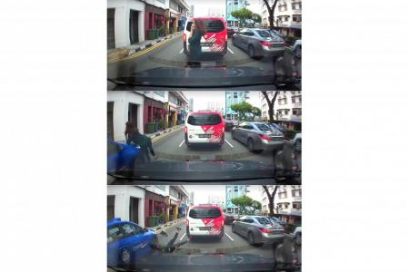 Screengrabs of the the viral video of the woman being hit by the taxi.