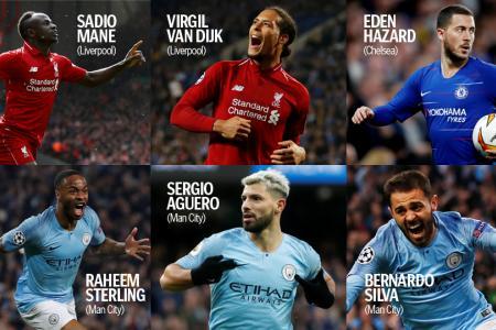 Man City trio, Liverpool duo shortlisted for PFA award