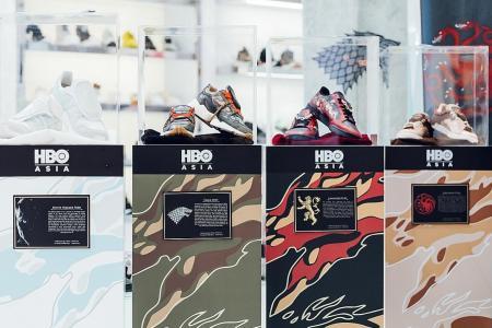 Win custom Game Of Thrones x SBTG sneakers on display at MBS