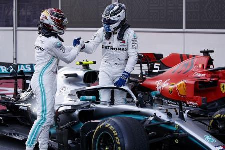 Mercedes' Valtteri Bottas takes the lead after winning in Baku