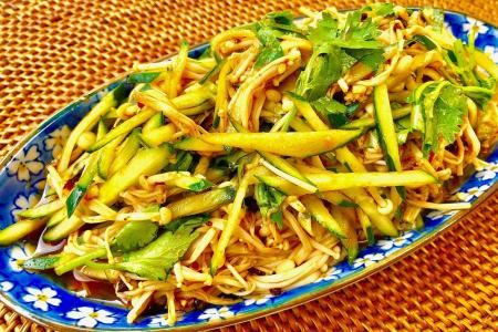 Whet your appetite with spicy enoki and cucumber salad
