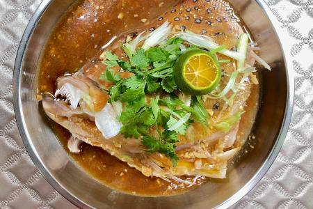 Red garoupa fish head with fermented bean sauce