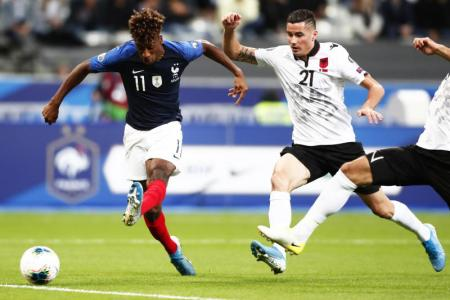 Coman scores a double in France's 4-1 win over Albania