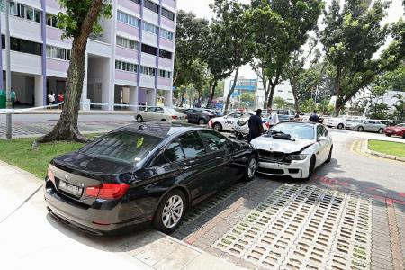 BMW driver flees on foot after crashing into taxi, car