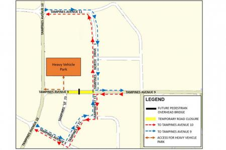 Parts of Tampines Avenue 9 to be closed next week for construction