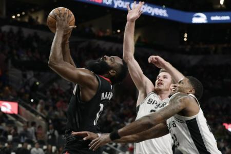Houston Rockets pipped by Spurs despite James Harden's half-century