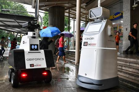 Robot guards assist in security exercise at Ang Mo Kio MRT station