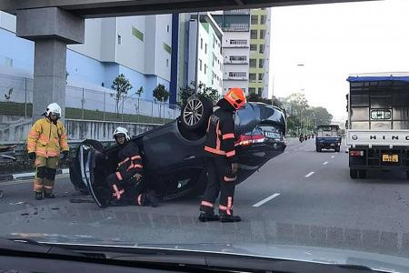 Third overturned car in a week after 3-vehicle accident