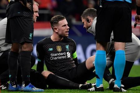 Liverpool skipper Jordan Henderson out for three weeks