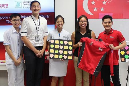 Team Singapore athletes show support for healthcare workers